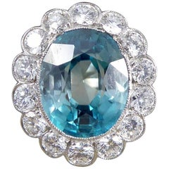 Vintage Blue Zircon and Diamond 18 Carat White Gold Cluster Ring