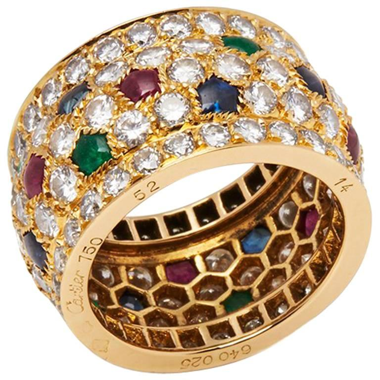 Cartier 18 Karat Yellow Gold Diamond Sapphire Ruby Emerald Nigeria Ring