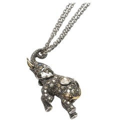 Sterling Silver 18k yellow gold Diamond Elephant Necklace