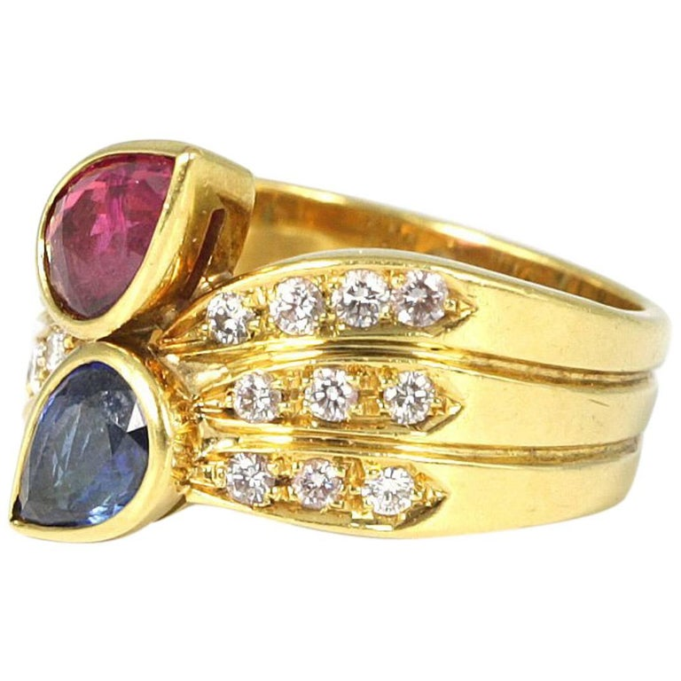 18 Karat Yellow Gold Sapphire and Ruby Ring with Diamonds
