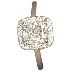 1.50 Carat Cushion Cut Diamond GIA F/VS 2 in a Platinum Halo Ring