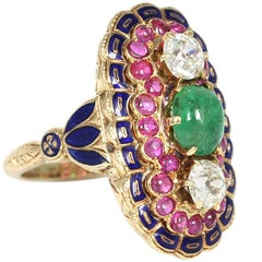 Unique Edwardian 18 Karat Gold Diamond and Cabochon Emerald and Ruby Ring