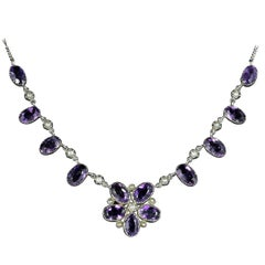 Antique Victorian Amethyst Pearl Necklace Silver, circa 1890