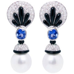 Ella Gafter Blue Sapphire and Diamond Earrings with South Sea Pearl and Onyx