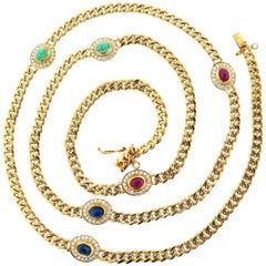 Classic Curb Link Multi-Stone and Diamond 18 Karat Necklace