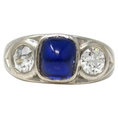 Tiffany & Co. Antique Art Deco Cambodian No Heat Sapphire and Diamond Ring, GIA