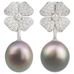 Ella Gafter Black Tahitian Pearl and Diamond Flower Hanging Drop Earrings