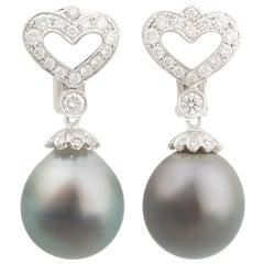 Ella Gafter Black Tahitian Pearl and Diamond White Gold Hanging Earrings