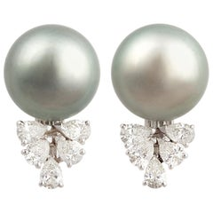 Ella Gafter Black Tahitian Pearl and Diamond Clip On Earrings