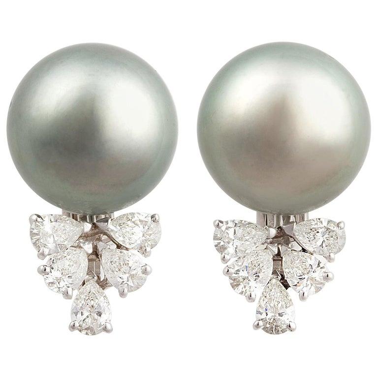 Ella Gafter Black Tahitian Pearl and Diamond Clip On Earrings