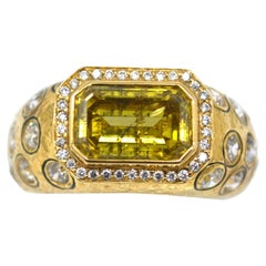 Unique Fancy Deep Brown Yellow Emerald Cut Diamond Ring GIA