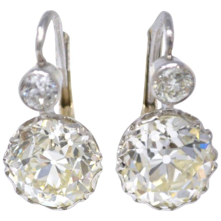 Timeless 8.47 Carat Old European Cut Diamond Double Drop Earrings