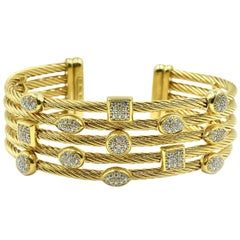 David Yurman Confetti Wide Cuff Bracelet with Pave Set Diamonds