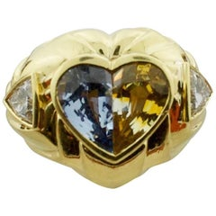 Multicolored Sapphire and Diamond Ring in 18 Karat Yellow Gold
