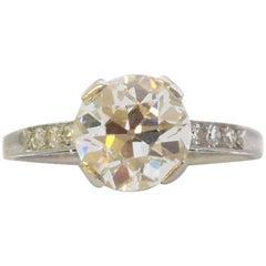 2.65 Carat Old Cut Diamond Solitaire Single Stone Platinum Engagement Ring