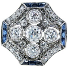 Special Octagonal Art Deco Diamond and Sapphire Ring