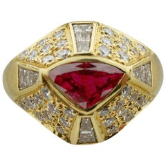 Handmade Ruby and Diamond Ring in 18 Karat Yellow Gold