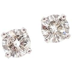 14 Karat White Gold .50 Carat Round Brilliant Cut Diamond Stud Earrings I1/H-I