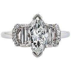 Art Deco 1.50 Carat GIA Old Marquise Cut Diamond Platinum Engagement Ring