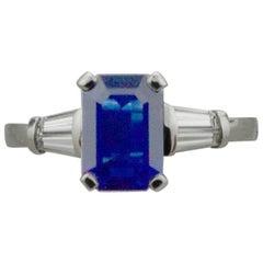 Classic Sapphire and Diamond Ring in Platinum