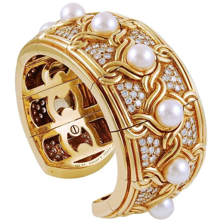 Van Cleef & Arpels Diamond Pearl Gold Cuff Bangle For Sale