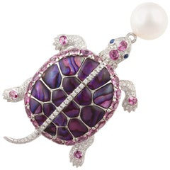 Ella Gafter South Sea Pearl Pink Sapphire and Diamond Gold Turtle Brooch Pin