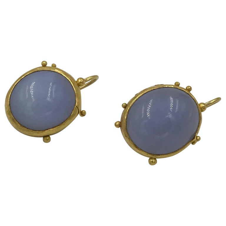 22 Karat Gold Earrings with Chalcedony Cabochons Handmade Contemporary Jewelry