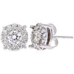 1.36 Carat Round Diamond Floret Design 14 Karat White Gold Stud Earrings