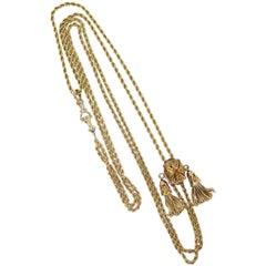 Victorian 1890s Watch Chain / Slide with Ruby / 14 Karat