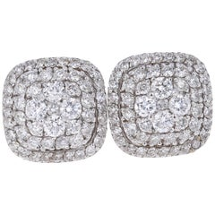 0.94 Carat Round Diamond 14 Karat White Gold Cluster Stud Earrings