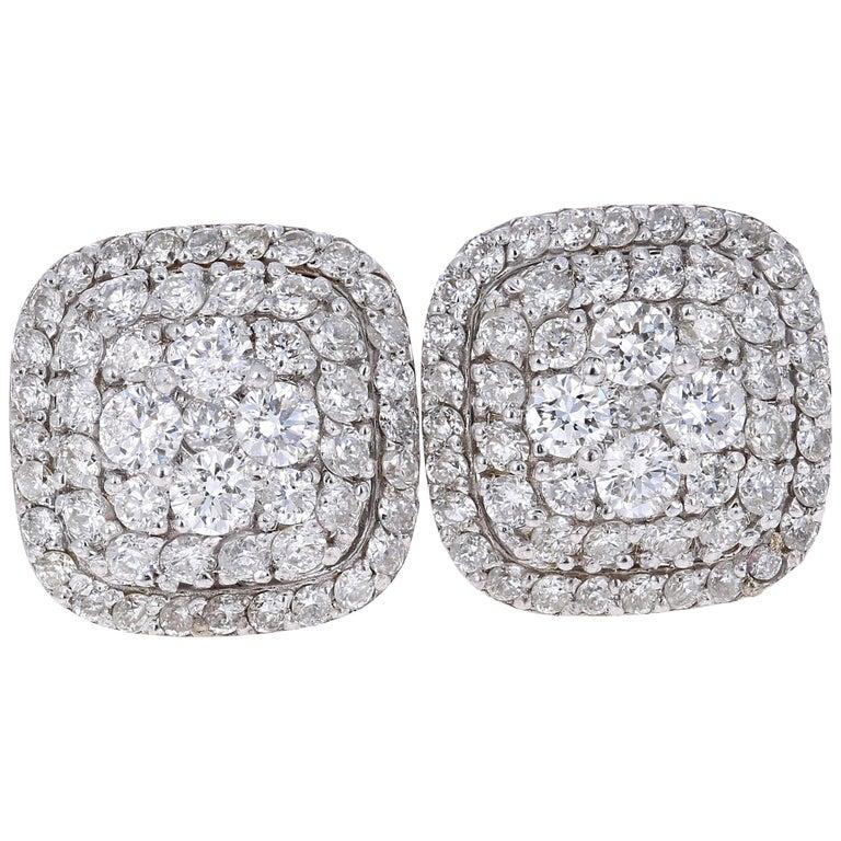 0.94 Carat Round Diamond 14 Karat White Gold Cluster Stud Earrings