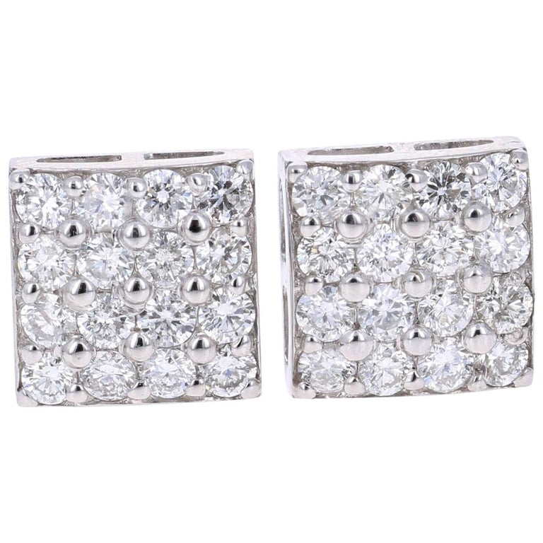 1.30 Carat Round Diamond 14 Karat White Gold Cluster Stud Earrings
