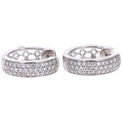 0.55 Carat Round Cut Diamond White Gold Huggy Earrings