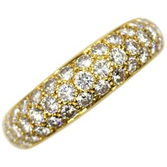 Cartier Pave Diamond 18 Karat Yellow Gold Band Ring