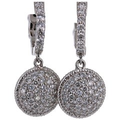 1.25 Carat Diamond Dangling Lever-Back White Gold Earrings