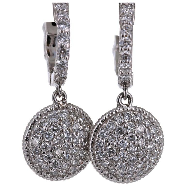 1.25 Carat Diamond Dangling Lever-Back White Gold Earrings