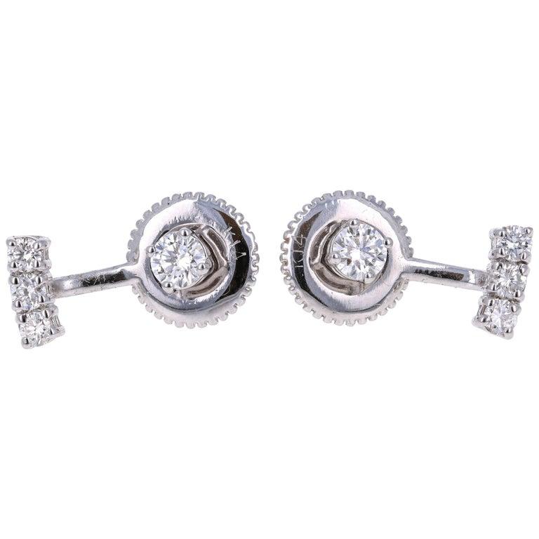 0.45 Carat Round Cut Diamond 14 Karat White Gold Ear Crawler Earrings