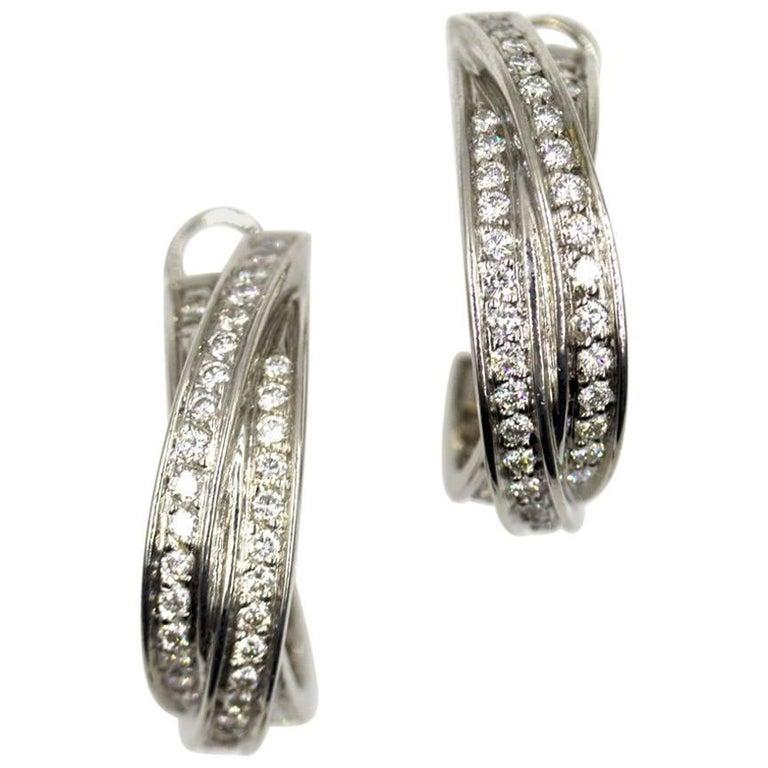 Cartier Diamond 18 Karat White Gold Trinity Hoop Earrings