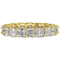 Mark Broumand 3.85 Carat Asscher Cut Eternity Band in 18 Karat Yellow Gold
