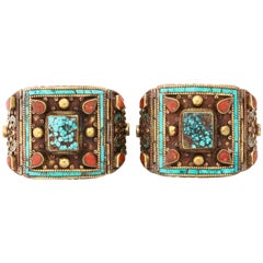 Pair Nepalese Bracelets Turquoise and Coral