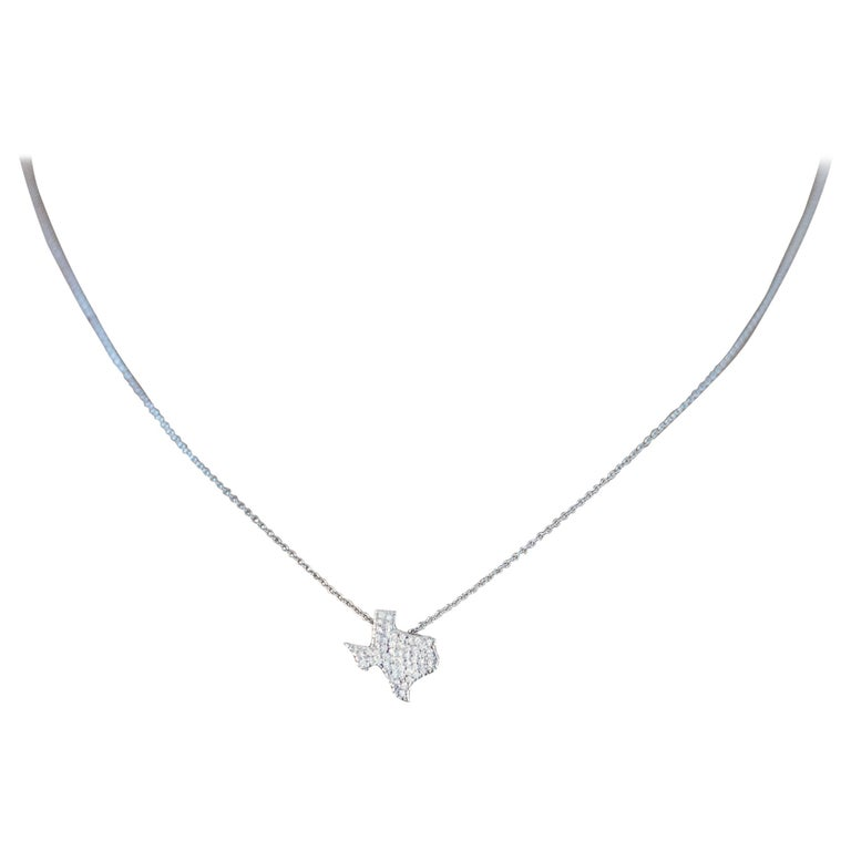 18 Karat White Gold and Diamond Texas State Pendant Necklace