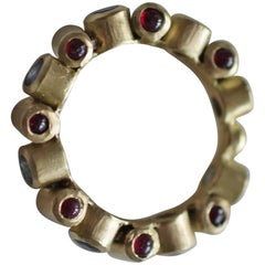 18K Gold Sapphire and Ruby Cabochons Bridal or Fashion Band Ring Contemporary