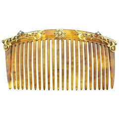 Imperial Russian Antique Fabergé Diamond-Set Gold Tortoise Shell Hair Comb