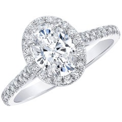 GIA Certified 1.01 Carat E SI1 Oval Diamond Halo Engagement Ring