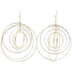 Dangling Tri-Color Gold Circle Kinetic Earrings