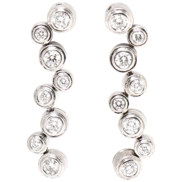 Tiffany & Co. Style Diamond White Gold Bubble Drop Earrings