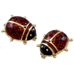 Enamel and Gold Lady Bug Pins