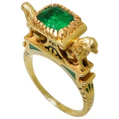 Colombian Emerald, Enamel Egyptian Revival Ring, French