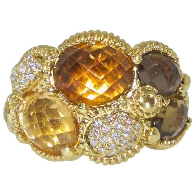 Judith Ripka Diamond, and Multi-Color Citrine 18 Karat Gold Ring