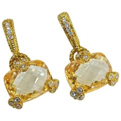 Judith Ripka 18 Karat, Diamond and Citrine Earrings